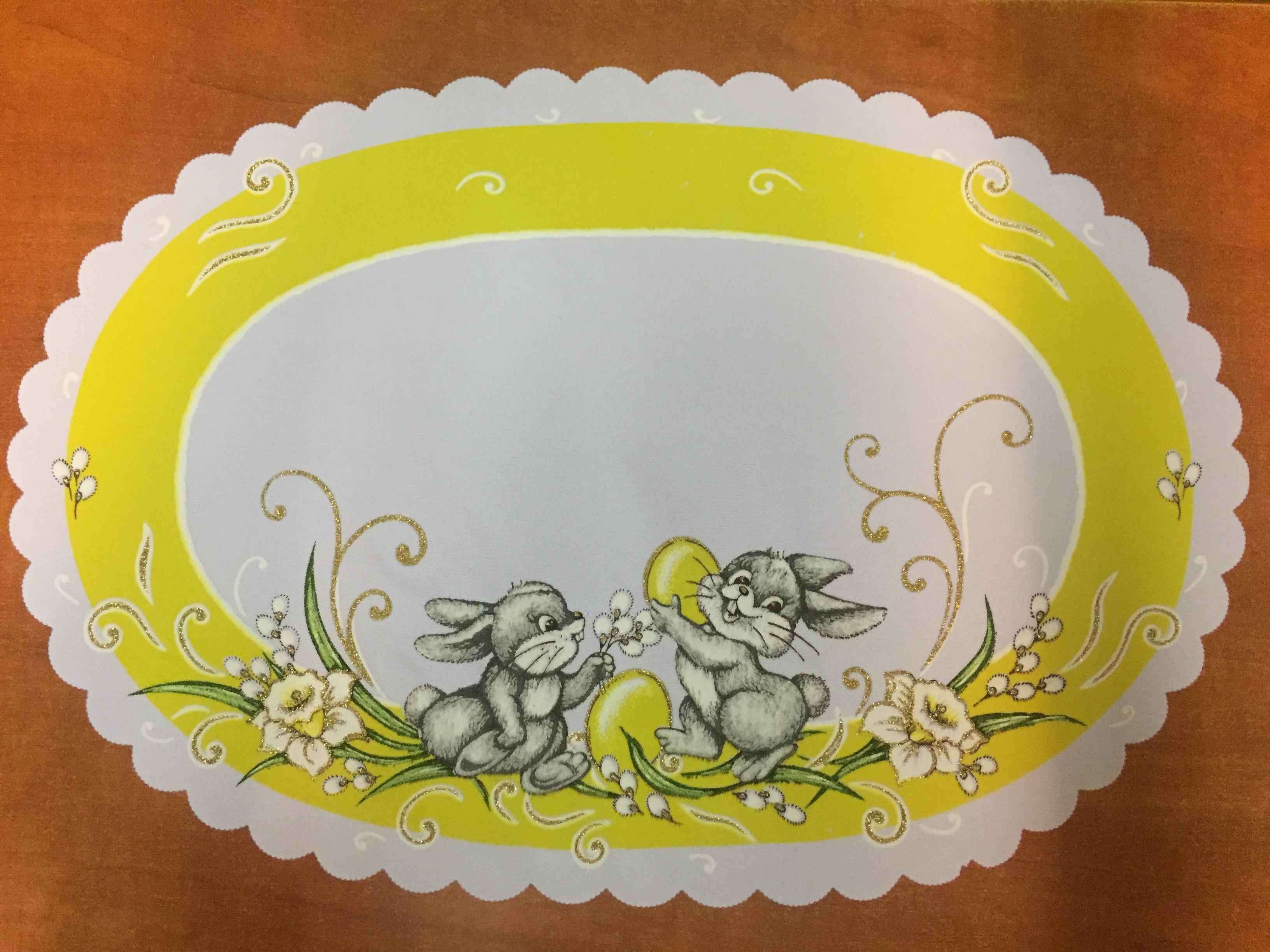 Velikonoční prostírání  50cm zajíčci žlutá