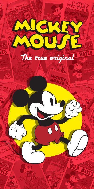 Osuška Mickey klasik červená 75/150cm