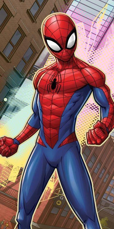 Osuška Spiderman město 70/140cm