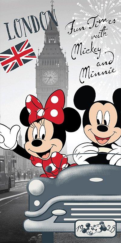 Osuška Mickey a Minnie v Londýně 70/140cm