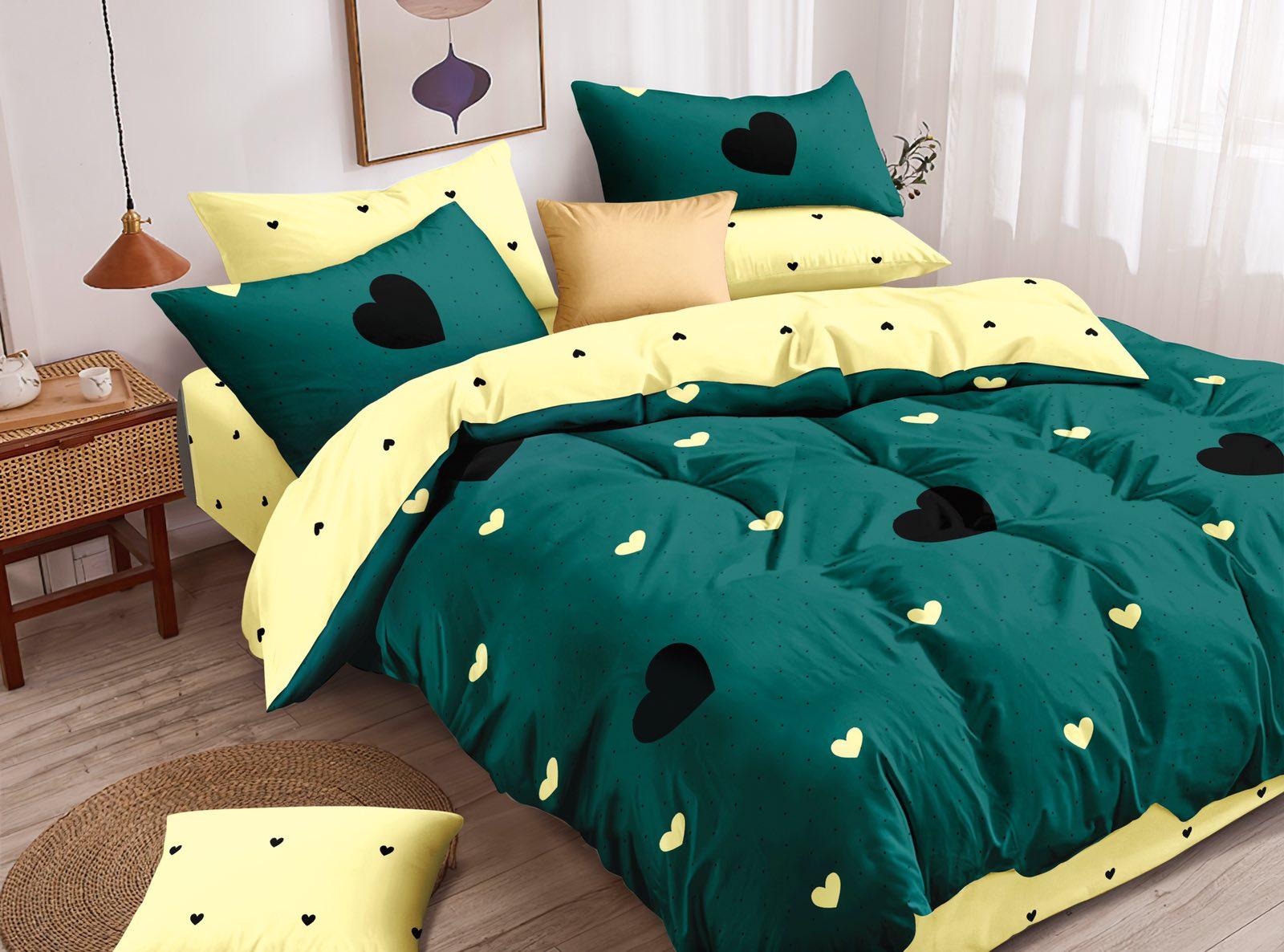 Luxusní Bavlněné povlečení na 2 postele 140x200/ 70x90 - SRDCE ZELENÉ + prostěradlo ZDARMA