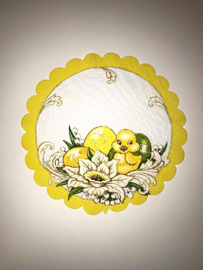 Velikonoční prostírání  23cm kačenka žlutá