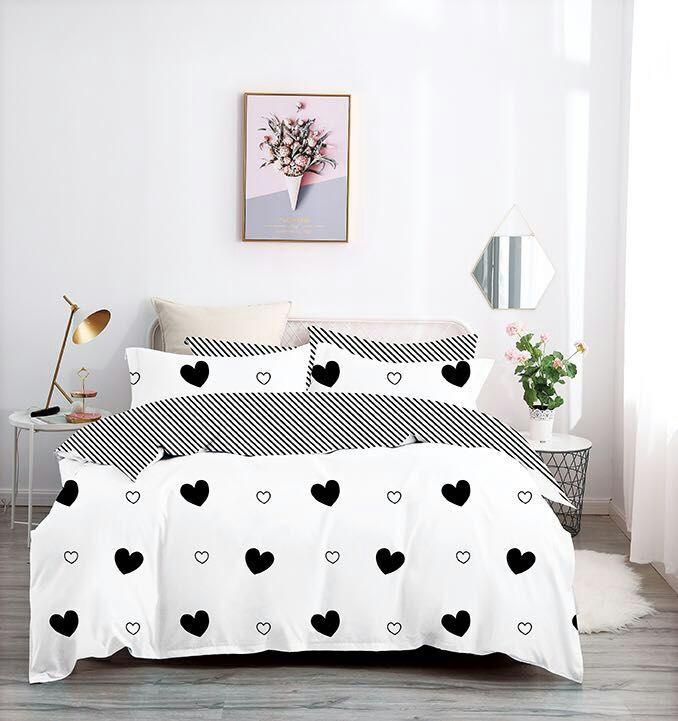 7 dílné  povlečení na 2 postele 140x200/ 70x90 - SRDÍČKA  BLACK & WHITE + prostěradlo ZDARMA !