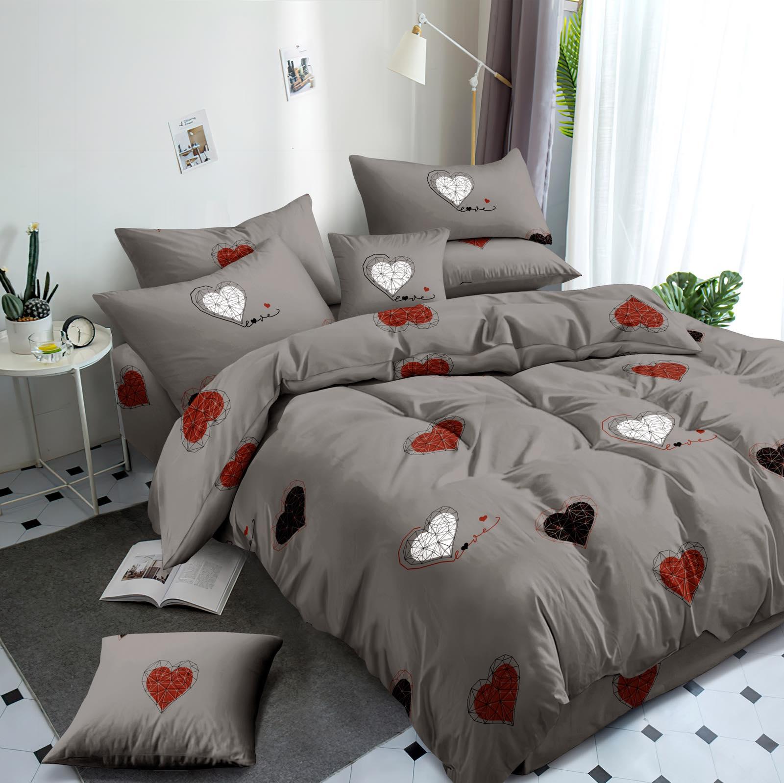 Luxusní Bavlněné povlečení na 2 postele 140x200/ 70x90 -  LOVE ŠEDÉ  + prostěradlo ZDARMA