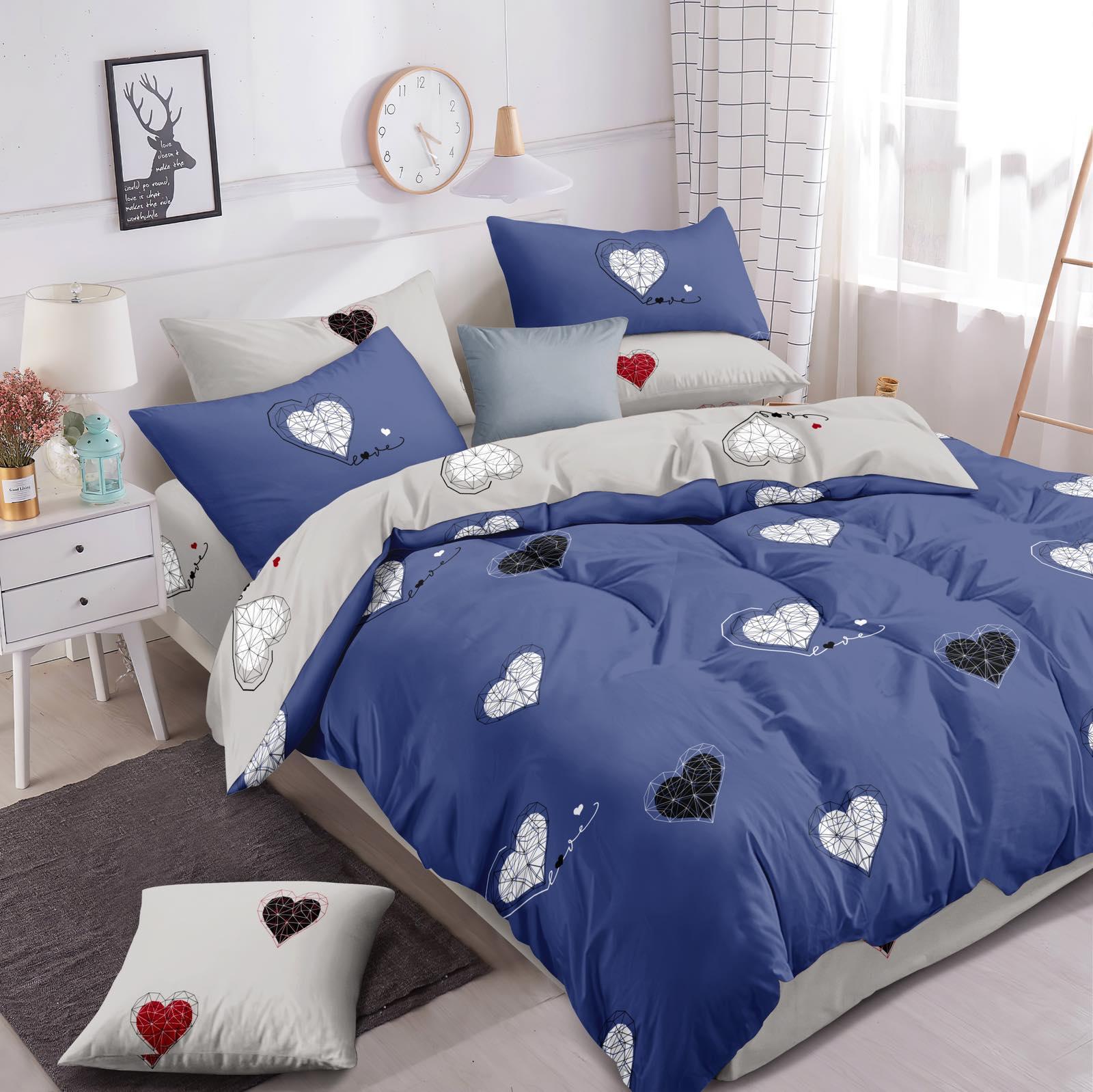 Luxusní Bavlněné povlečení na 2 postele 140x200/ 70x90 -  LOVE MODRÉ + prostěradlo ZDARMA
