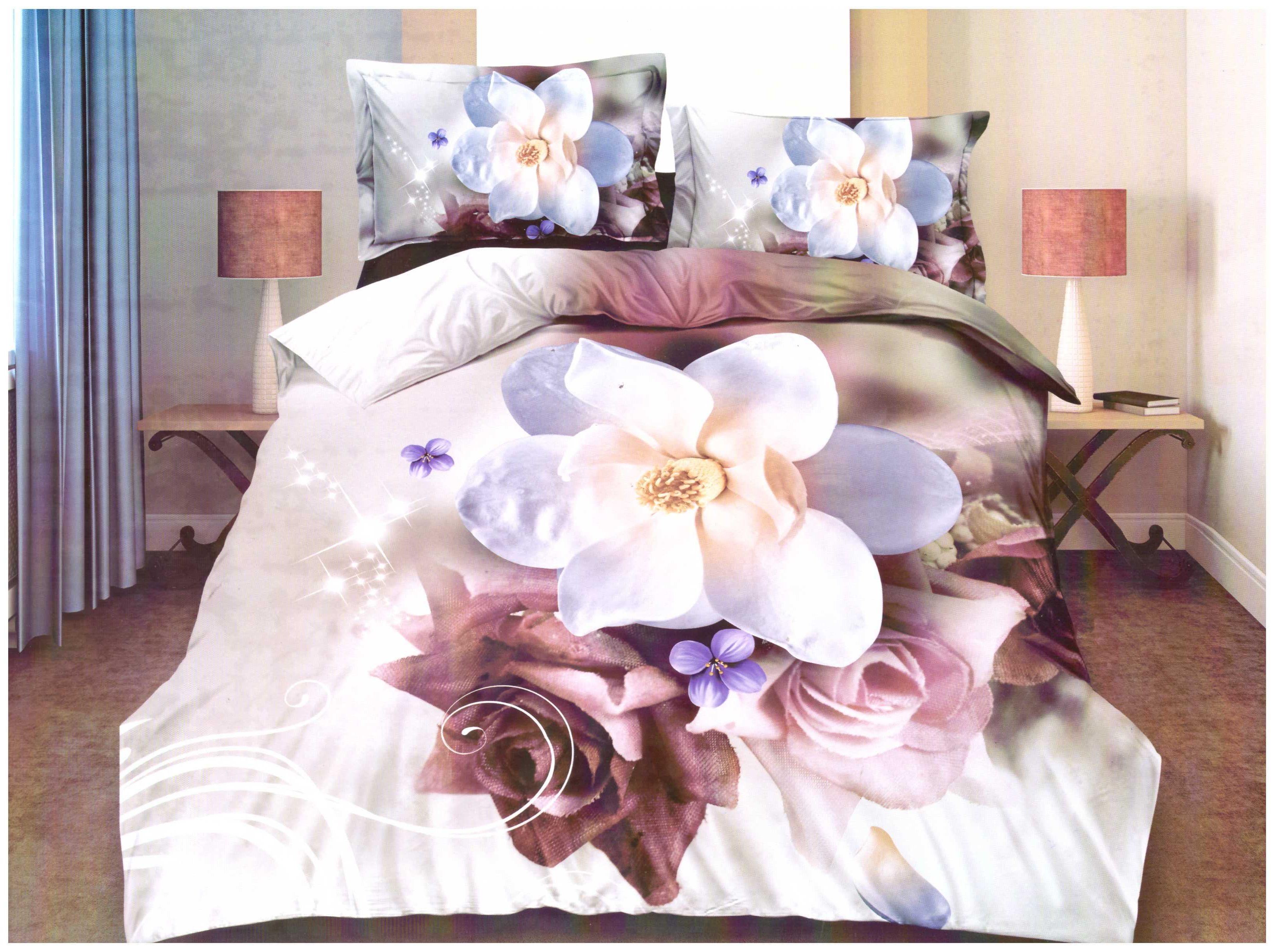 Povlečení  S 3D efektem  z bavlněného saténu Alice -  Francouzské 200x220 cm + PROSTĚRADLO ZDARMA !