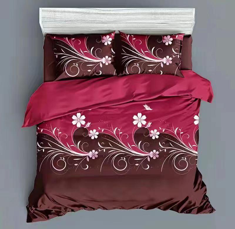 Luxusní Bavlněné povlečení na 2 postele 140x200/ 70x90 - ANDULKA KARMÍNOVÁ+ prostěradlo ZDARMA