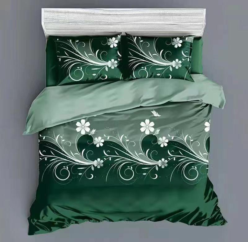 Luxusní Bavlněné povlečení na 2 postele 140x200/ 70x90 - ANDULKA ZELENÁ + prostěradlo ZDARMA