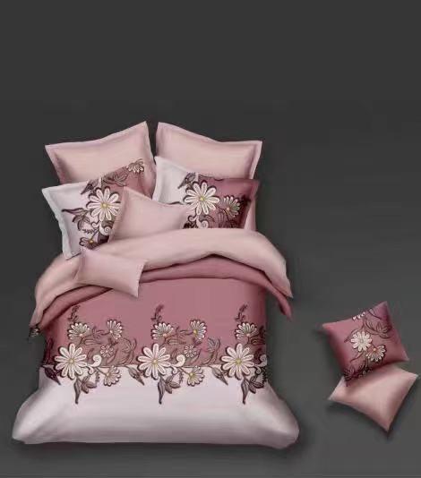 Luxusní Bavlněné povlečení na 2 postele 140x200/ 70x90 - ELIŠKA - RŮŽOVÁ + prostěradlo ZDARMA