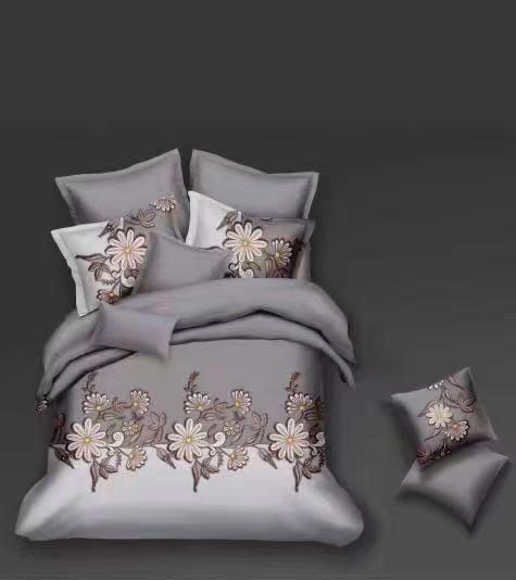 Luxusní Bavlněné povlečení na 2 postele 140x200/ 70x90 - ELIŠKA - ŠEDÁ + prostěradlo ZDARMA