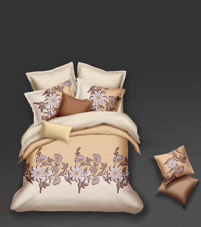 Luxusní Bavlněné povlečení na 2 postele 140x200/ 70x90 - ELIŠKA - BÉŽOVÁ + prostěradlo ZDARMA
