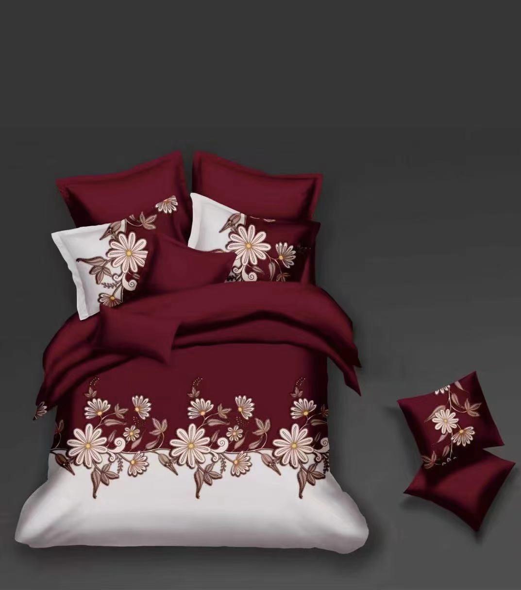 Luxusní Bavlněné povlečení na 2 postele 140x200/ 70x90 - ELIŠKA - BORDÓ + prostěradlo ZDARMA