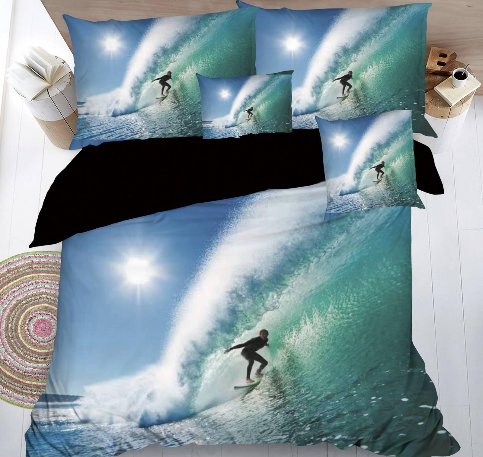 SADA POVLEČENÍ S 3D EFEKTEM SURFAŘ na 2 postele + PROSTĚRADLO ZDARMA