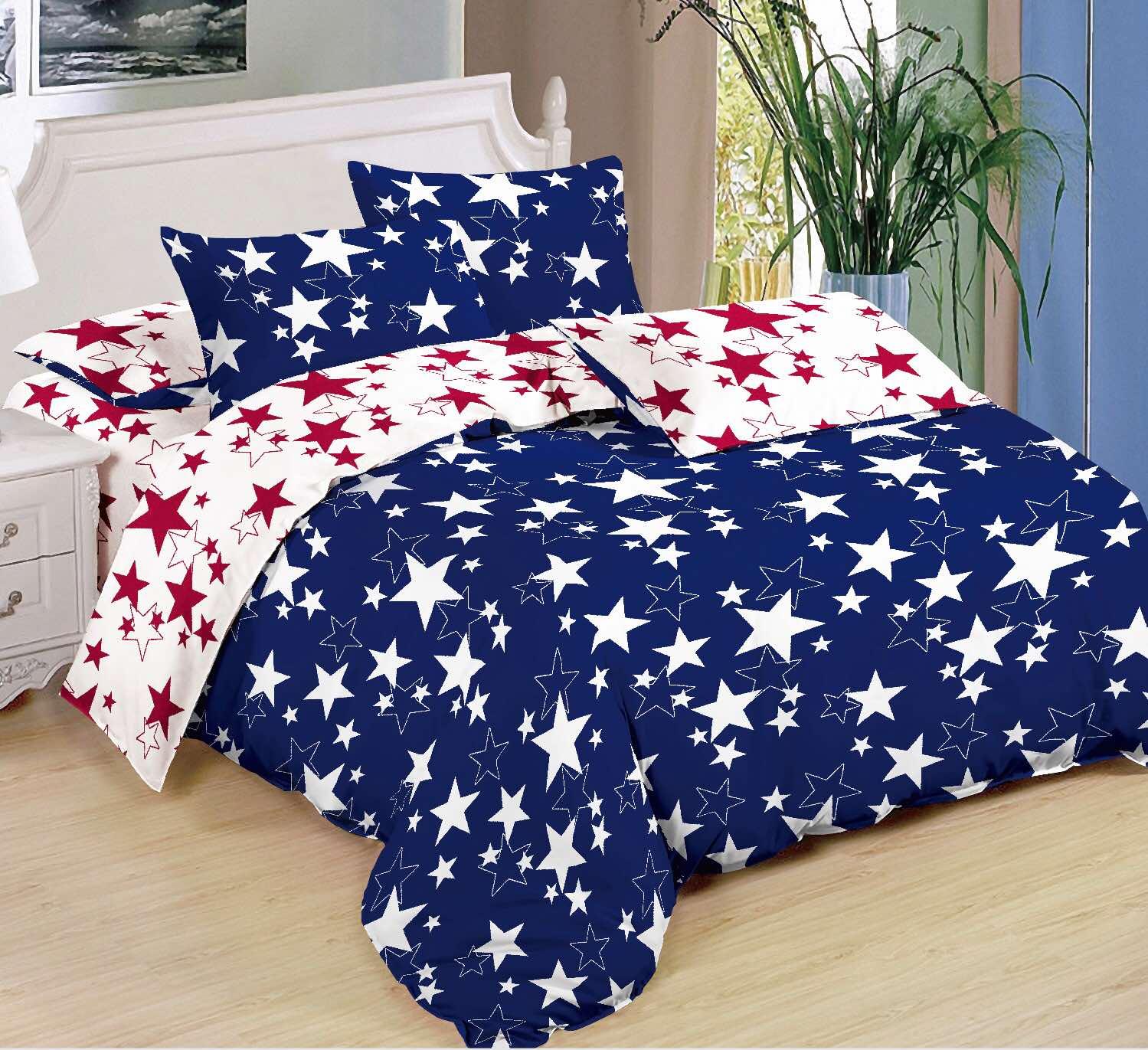 7-dílná sada povlečení na 2 postele  HVĚZDY 3 + PROSTĚRADLO ZDARMA