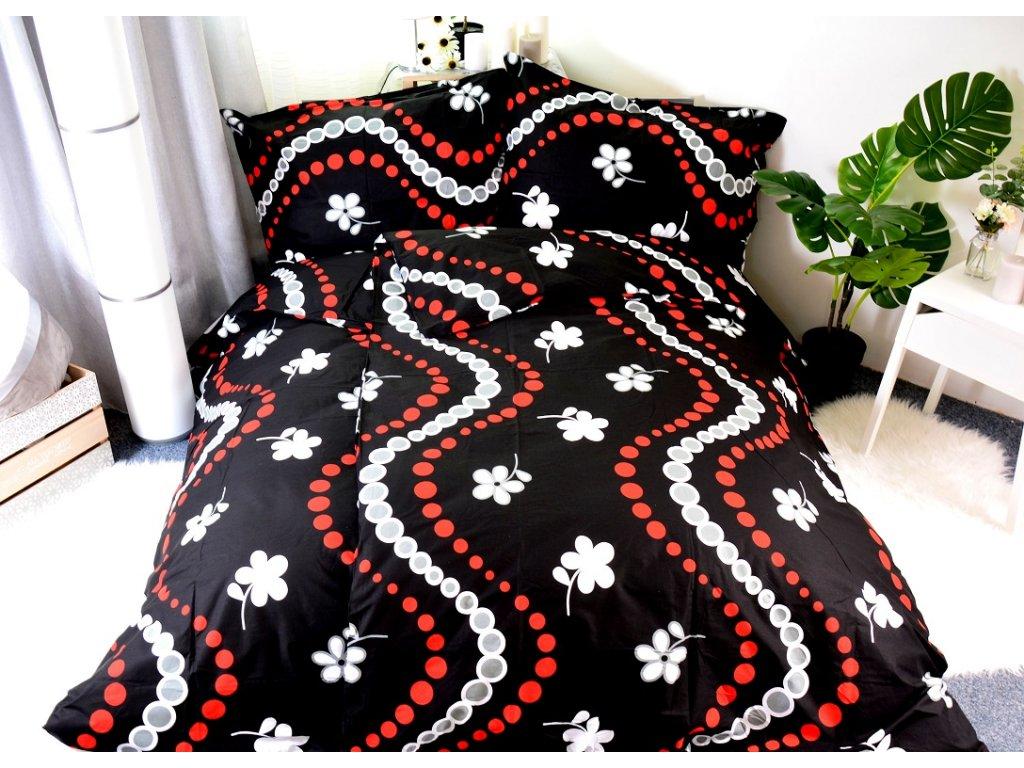 Bavlněné povlečení SOFY BLACK 140x200/70x90cm