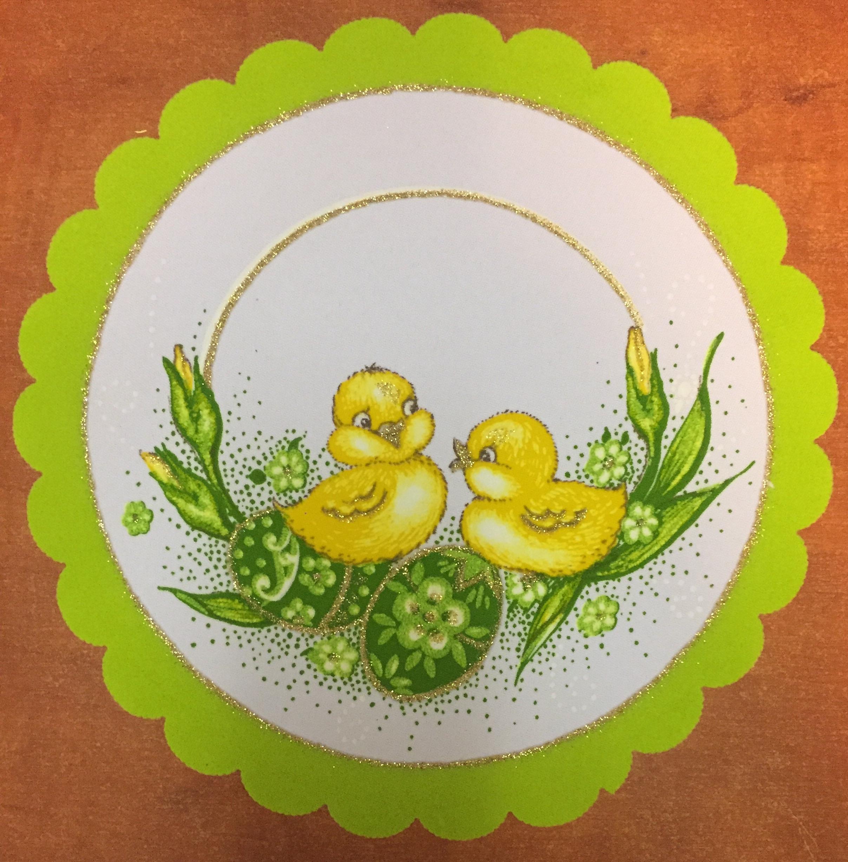 Velikonoční prostírání  25cm kačenky zelené