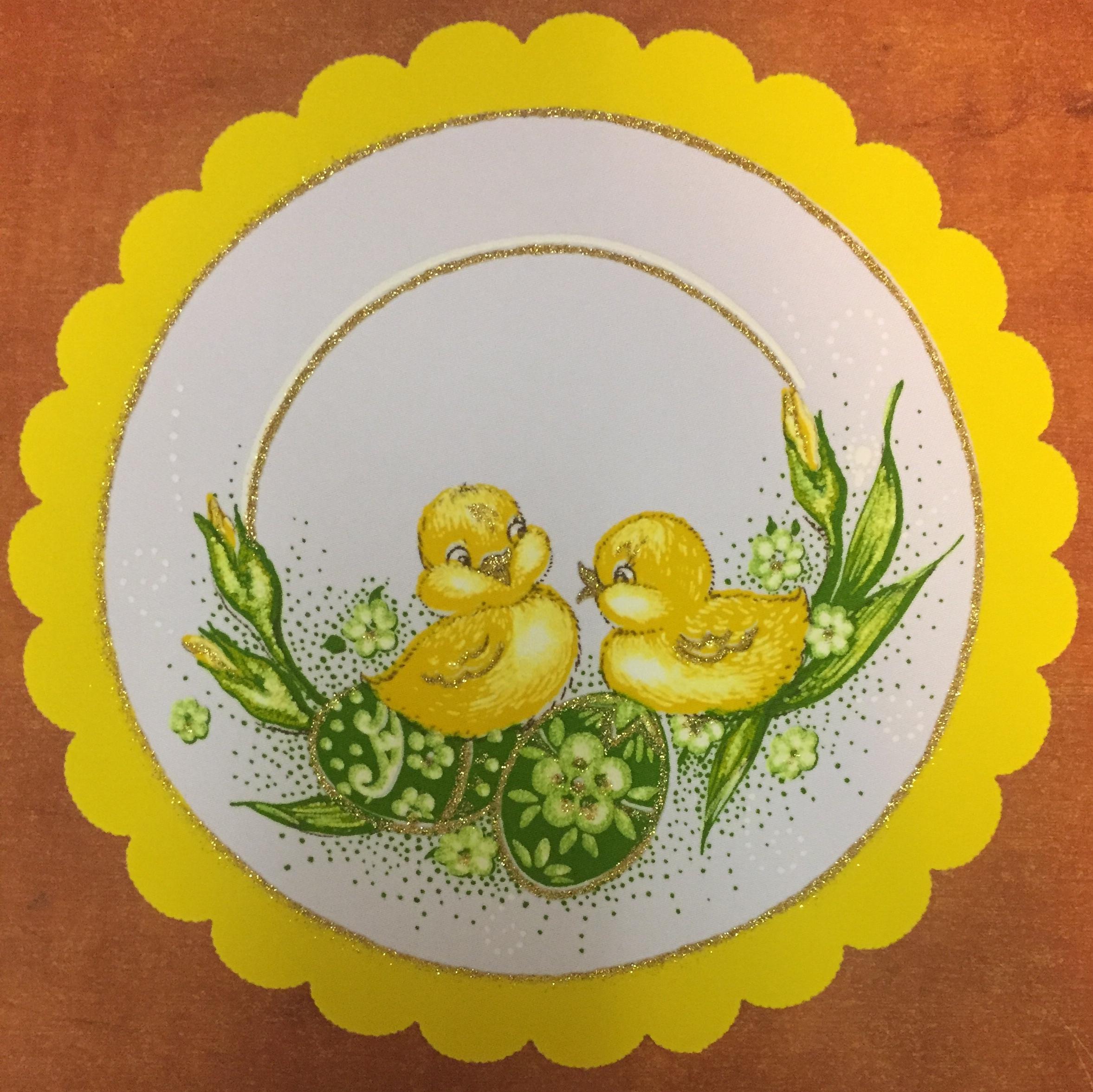 Velikonoční prostírání  25cm kačenky žluté