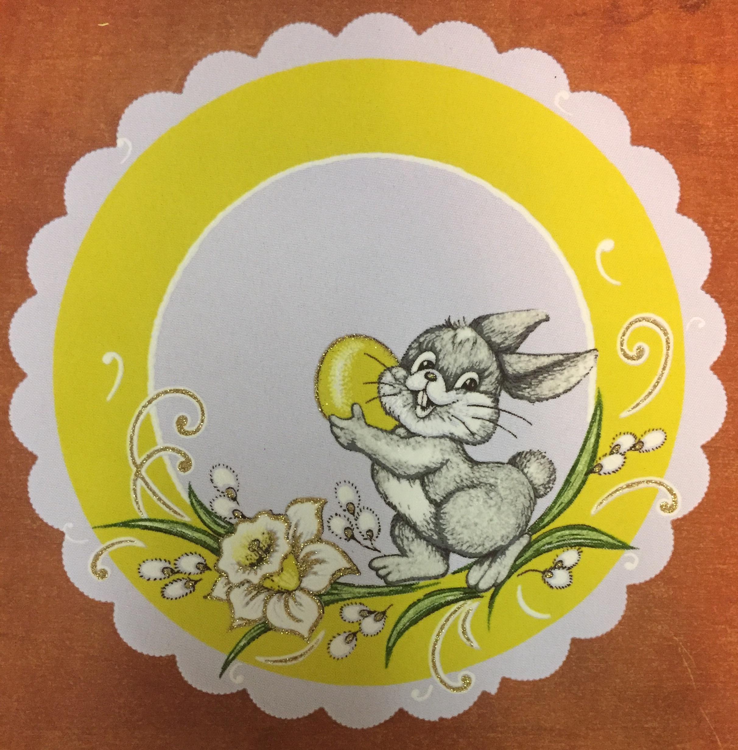 Velikonoční prostírání  25cm zajíček žlutý