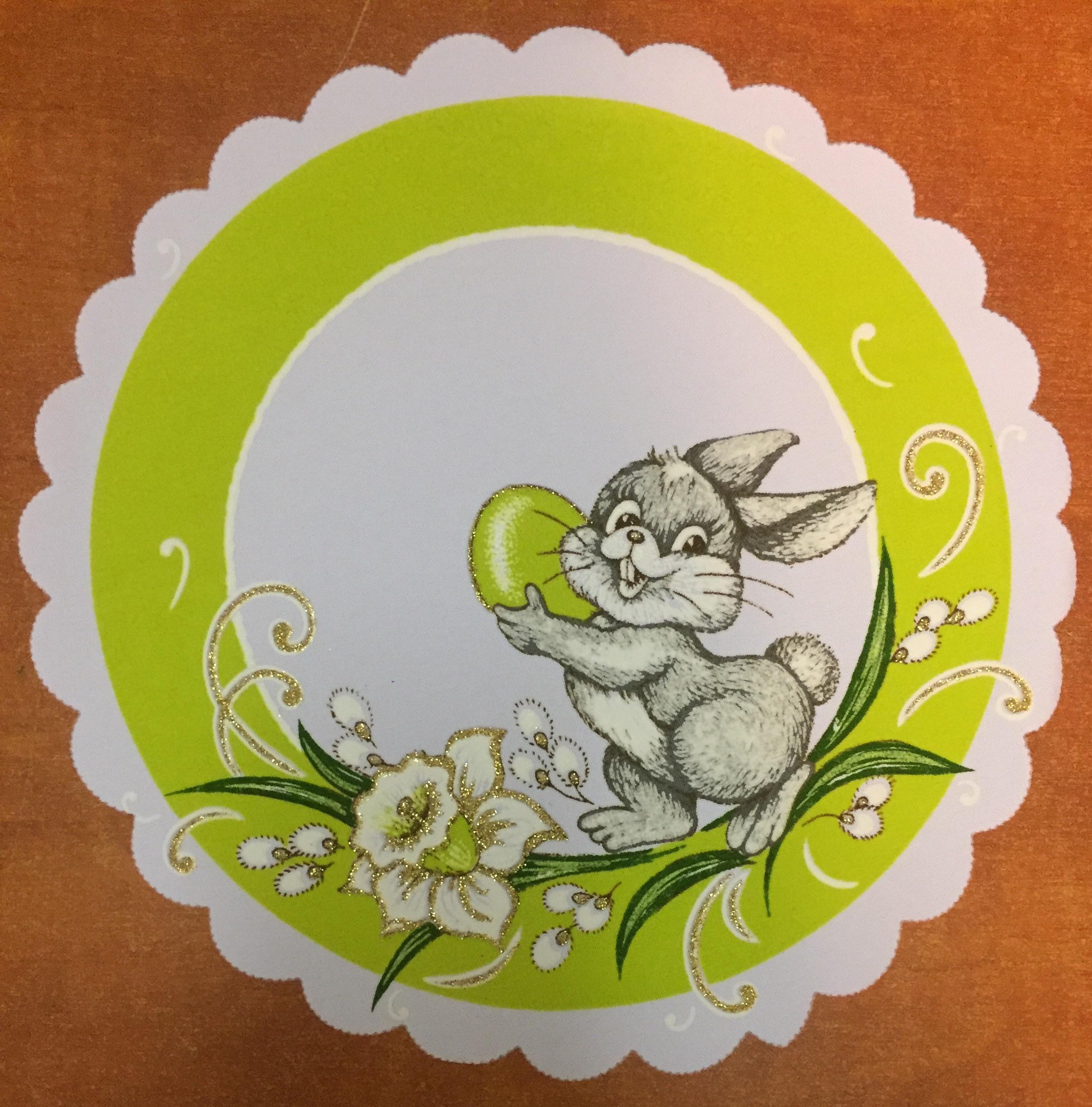 Velikonoční prostírání  25cm zajíček zelený