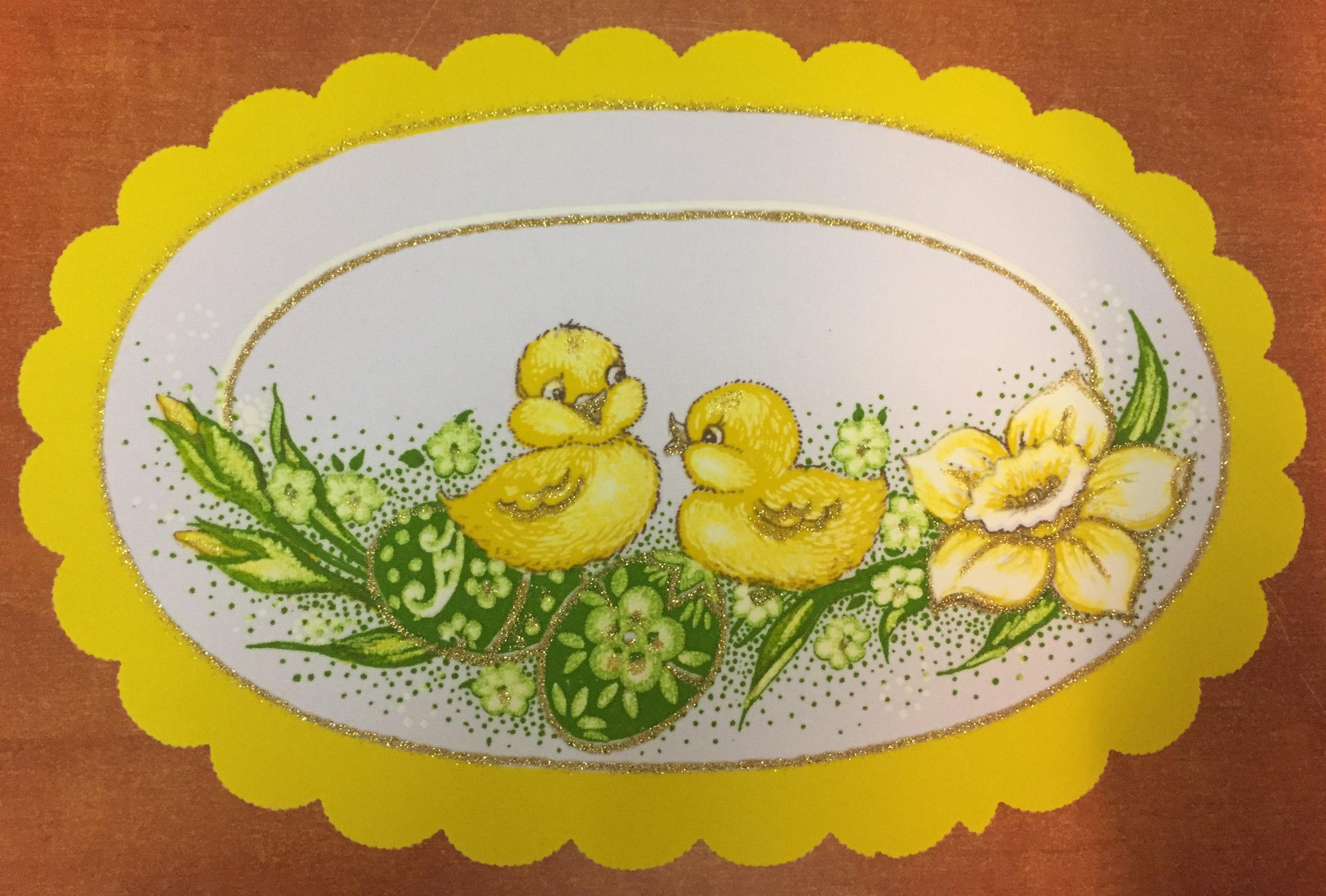 Velikonoční prostírání  20x30cm kačenky žluté