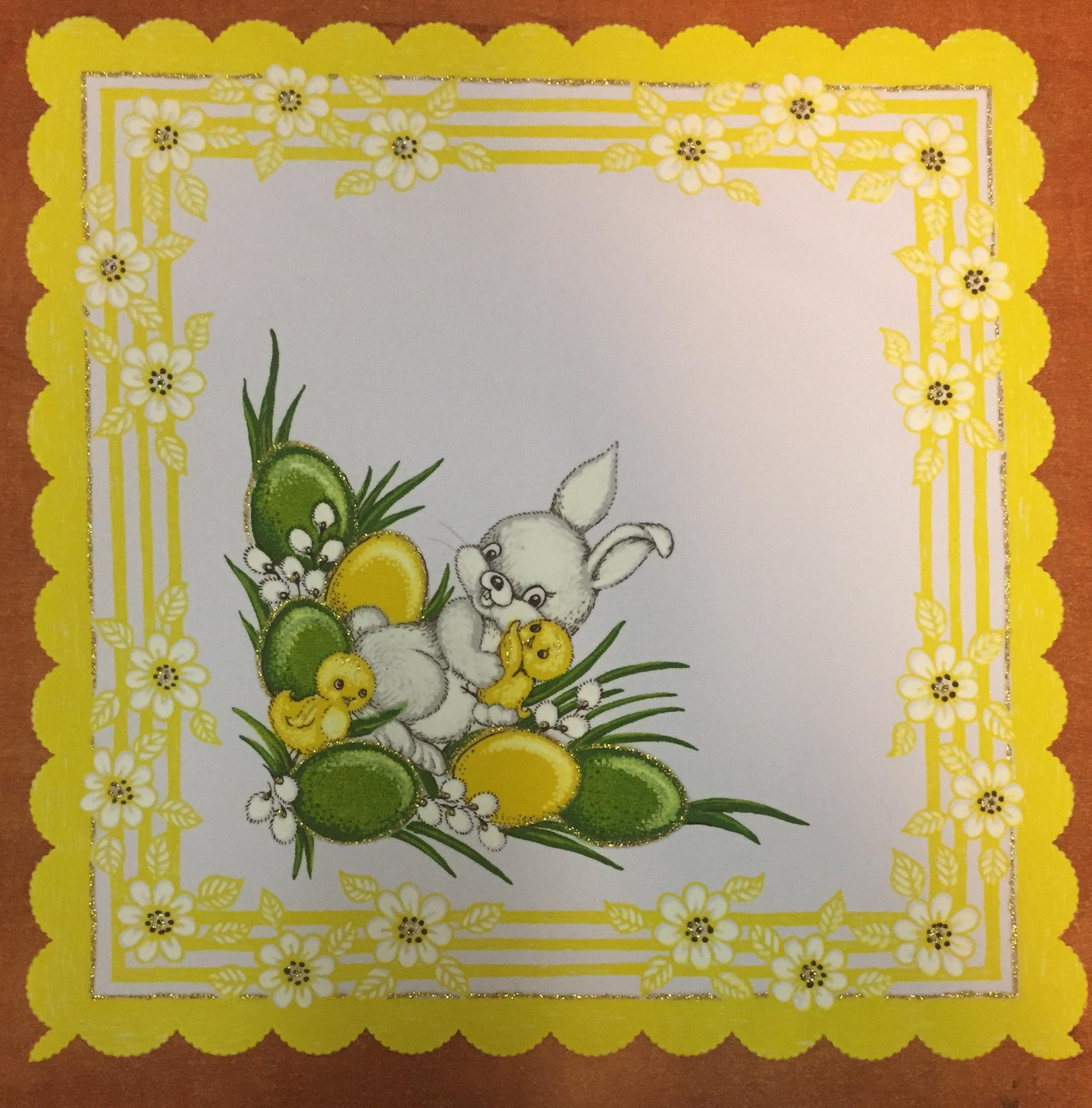 Velikonoční prostírání  35x35cm zajíček žlutý