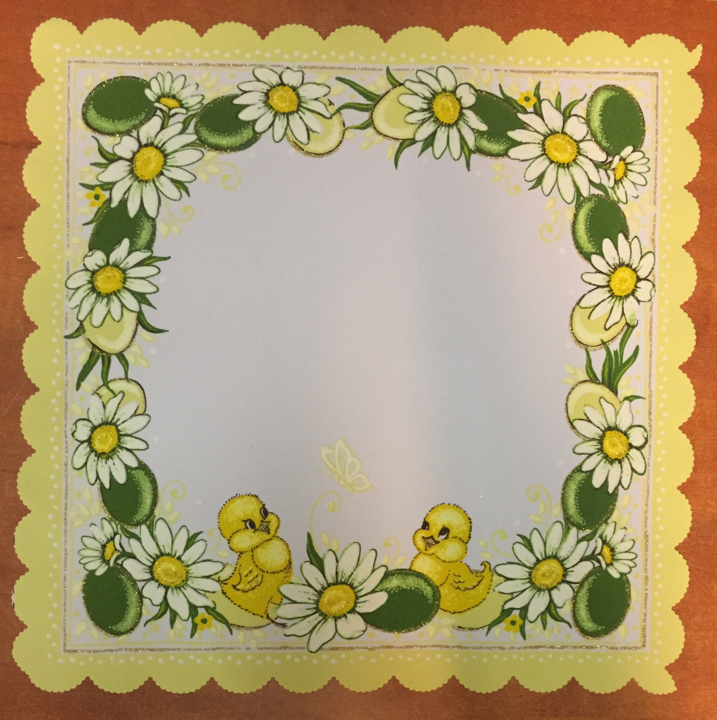 Velikonoční prostírání  35x35cm kačenky světle žluté