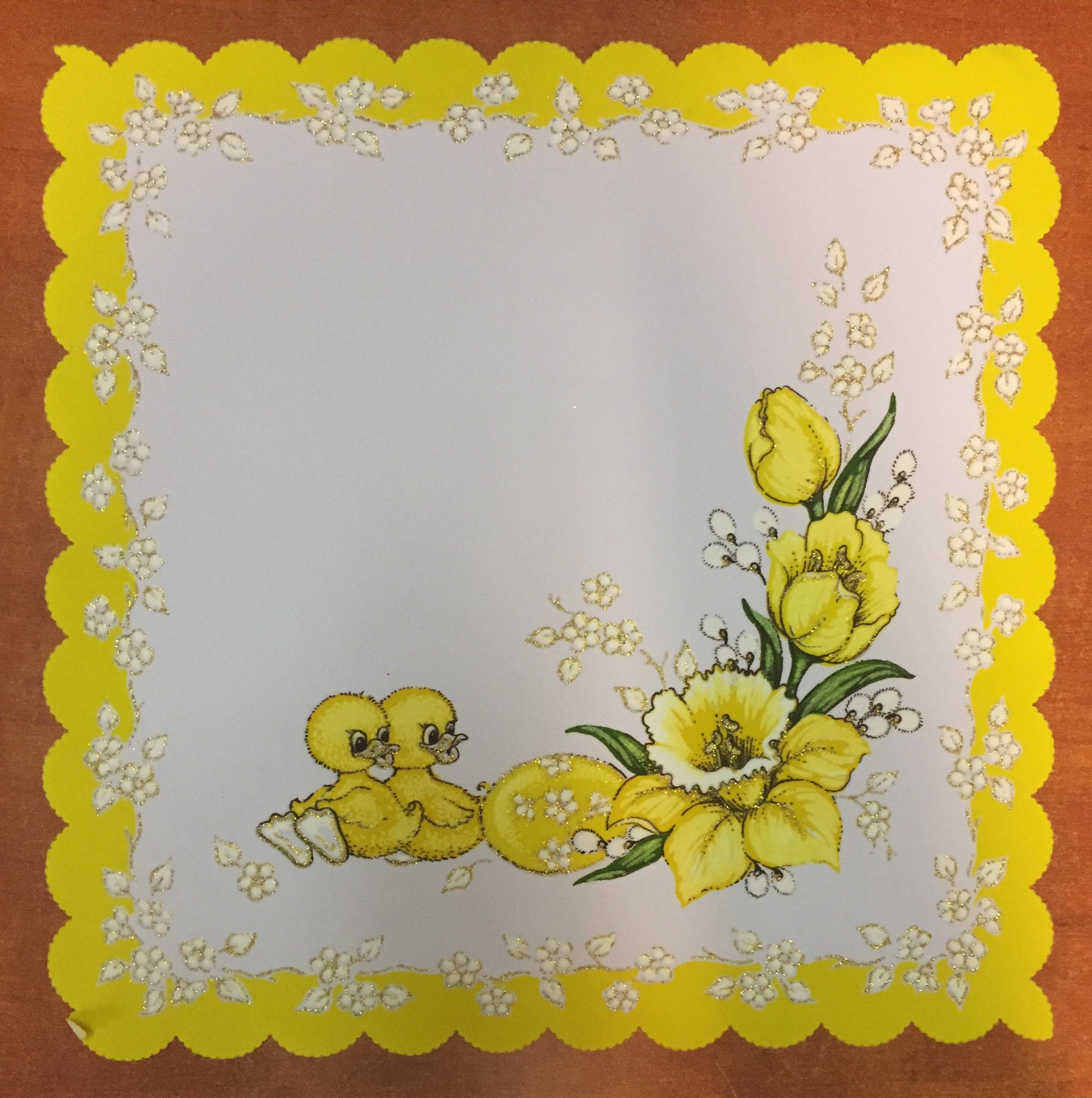 Velikonoční prostírání  35x35cm kačenky žluté 2