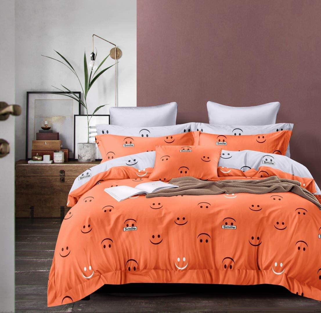 Bavlněné povlečení sada na 2 postele SMAJLÍK S ROUŠKOU  + PROSTĚRADLO ZDARMA