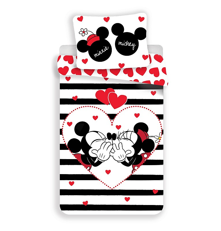 Povlečení Mickey a Minnie stripes 140/200, 70/90