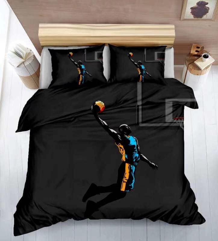 7-dílná sada povlečení 3D na 2 postele BASKETBALL + PROSTĚRADLO ZDARMA