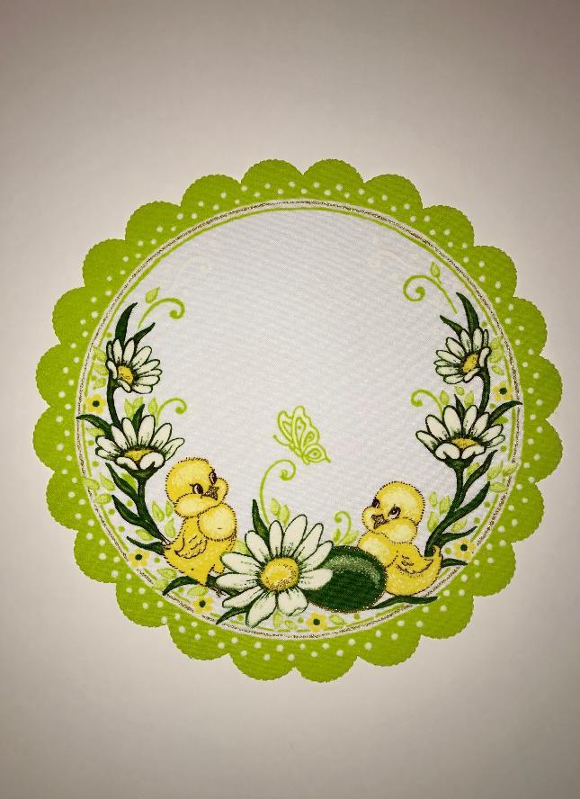Velikonoční prostírání  23cm kačenky zelené