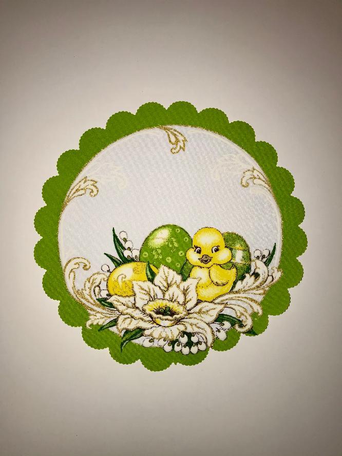Velikonoční prostírání  23cm kačenka zelená
