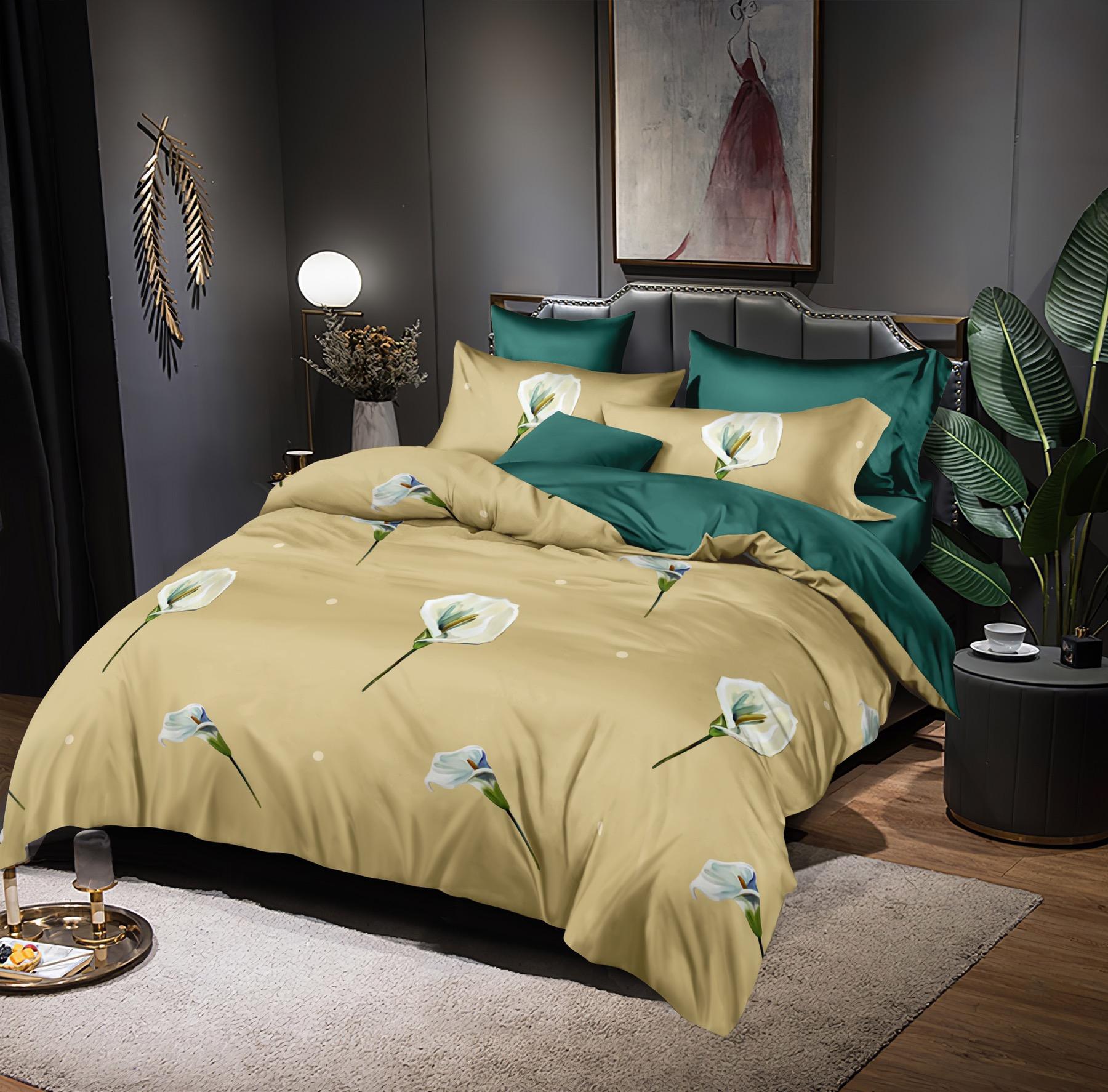 Luxusní Bavlněné povlečení na 2 postele 140x200/ 70x90 -  KALA + prostěradlo ZDARMA