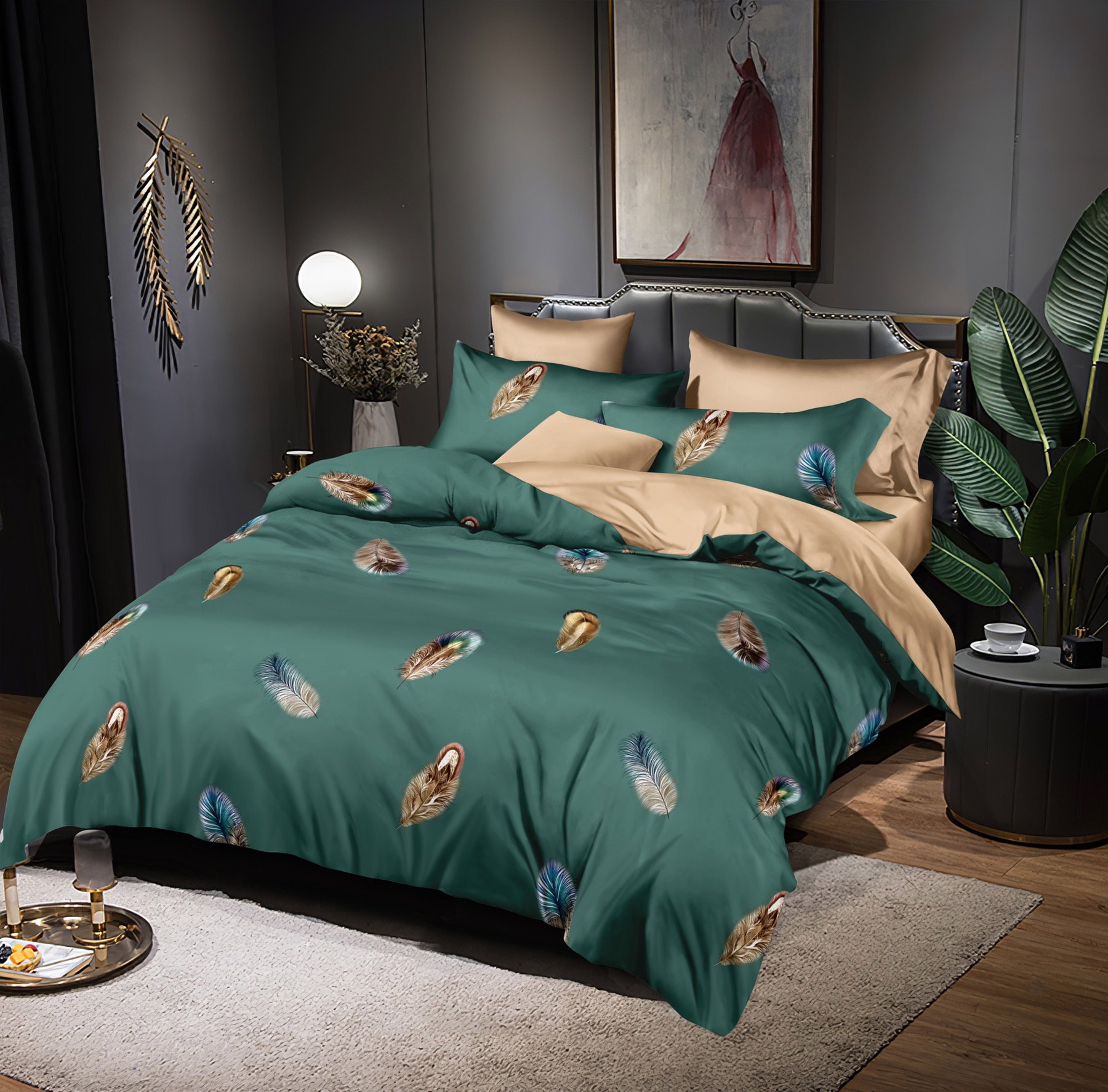 Luxusní Bavlněné povlečení na 2 postele 140x200/ 70x90 - PEŘÍČKA ZELENÉ + prostěradlo ZDARMA