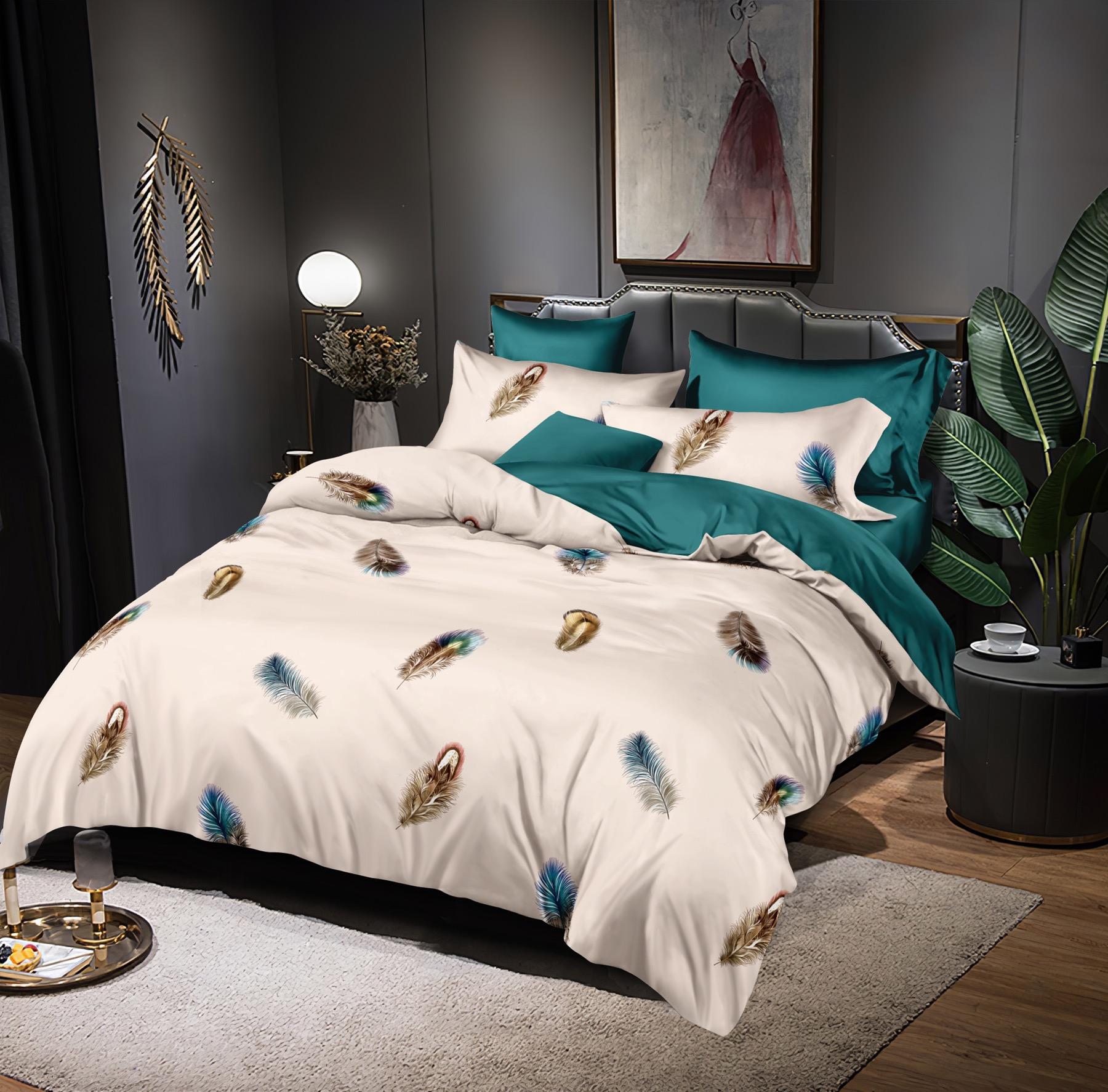 Luxusní Bavlněné povlečení na 2 postele 140x200/ 70x90 - PEŘÍČKA + prostěradlo ZDARMA