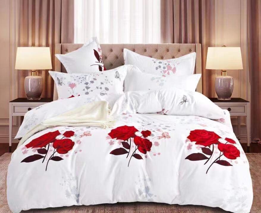 Luxusní Bavlněné povlečení na 2 postele 140x200/ 70x90 - ROMANCE + prostěradlo ZDARMA