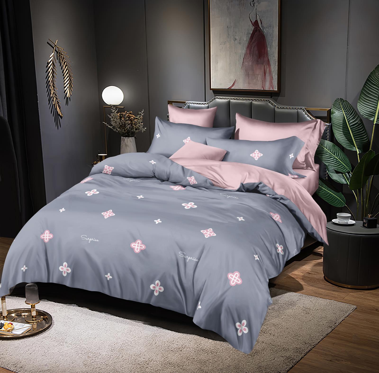 Luxusní Bavlněné povlečení na 2 postele 140x200/ 70x90 -  TONIČKA  ŠEDÁ + prostěradlo ZDARMA