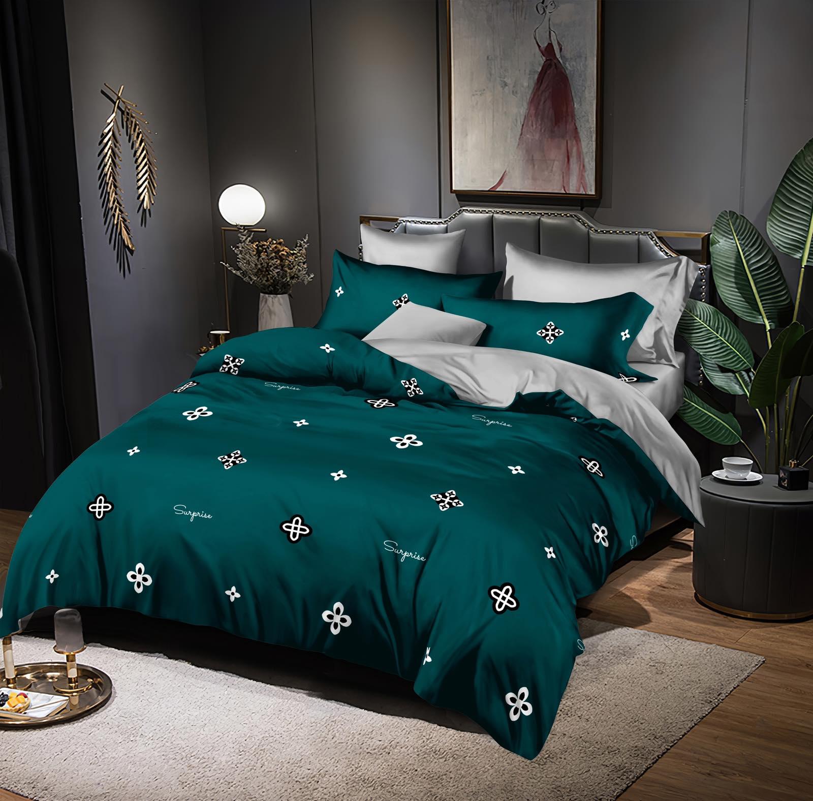 Luxusní Bavlněné povlečení na 2 postele 140x200/ 70x90 -  TONIČKA  ZELENÁ + prostěradlo ZDARMA