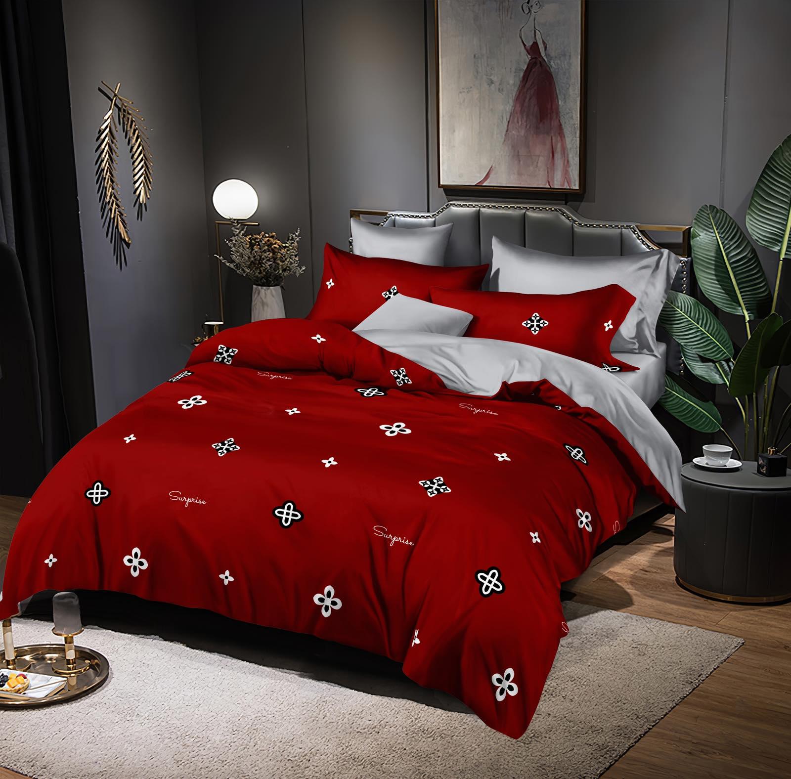 Luxusní Bavlněné povlečení na 2 postele 140x200/ 70x90 -  TONIČKA ČERVENÁ + prostěradlo ZDARMA