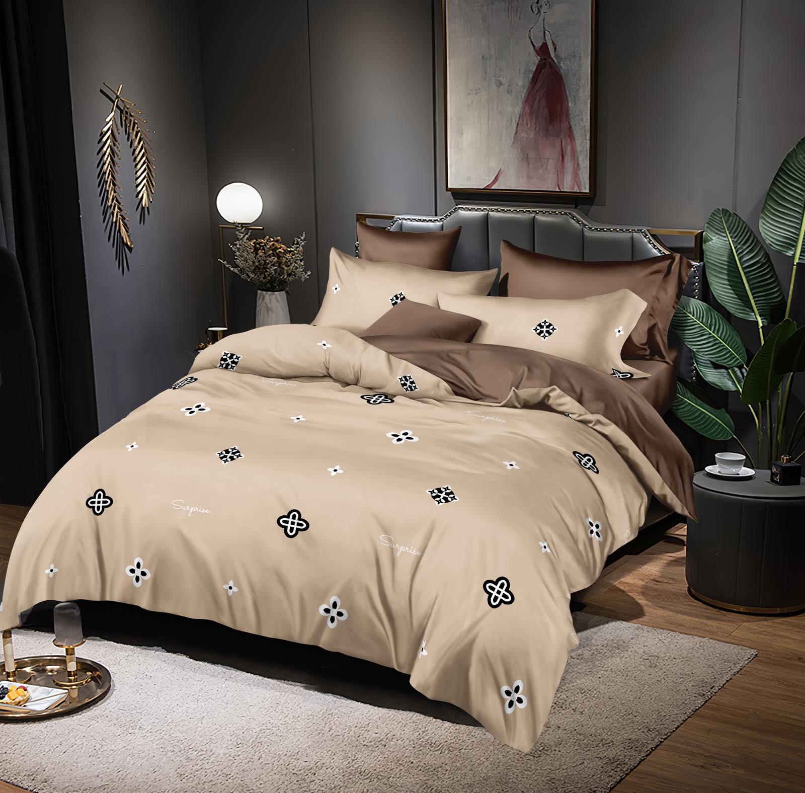 Luxusní Bavlněné povlečení na 2 postele 140x200/ 70x90 -  TONIČKA BÉŽOVÁ + prostěradlo ZDARMA