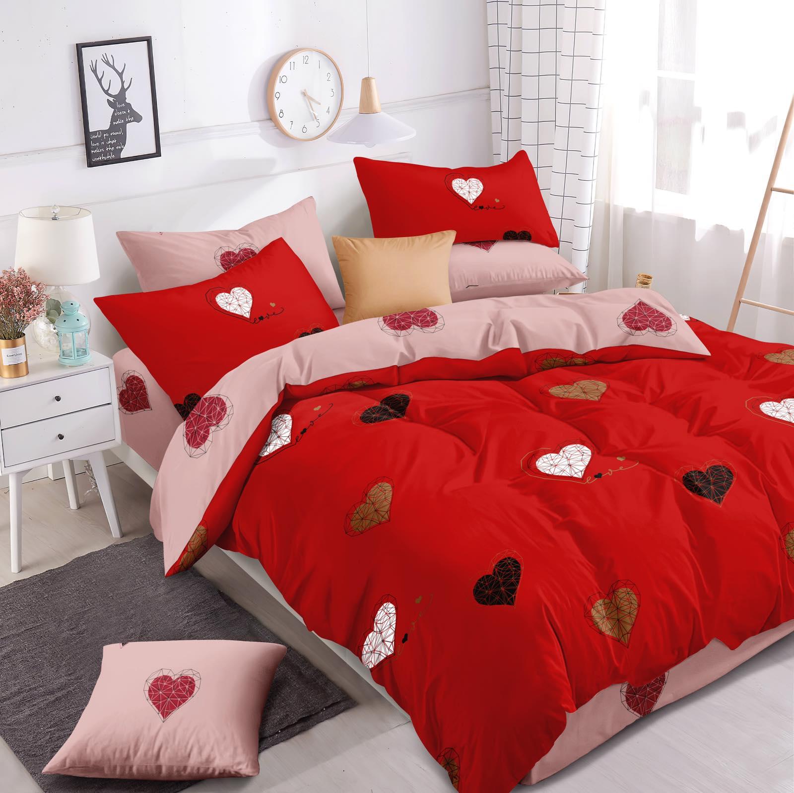 Luxusní Bavlněné povlečení na 2 postele 140x200/ 70x90 -  LOVE ČERVENÉ + prostěradlo ZDARMA