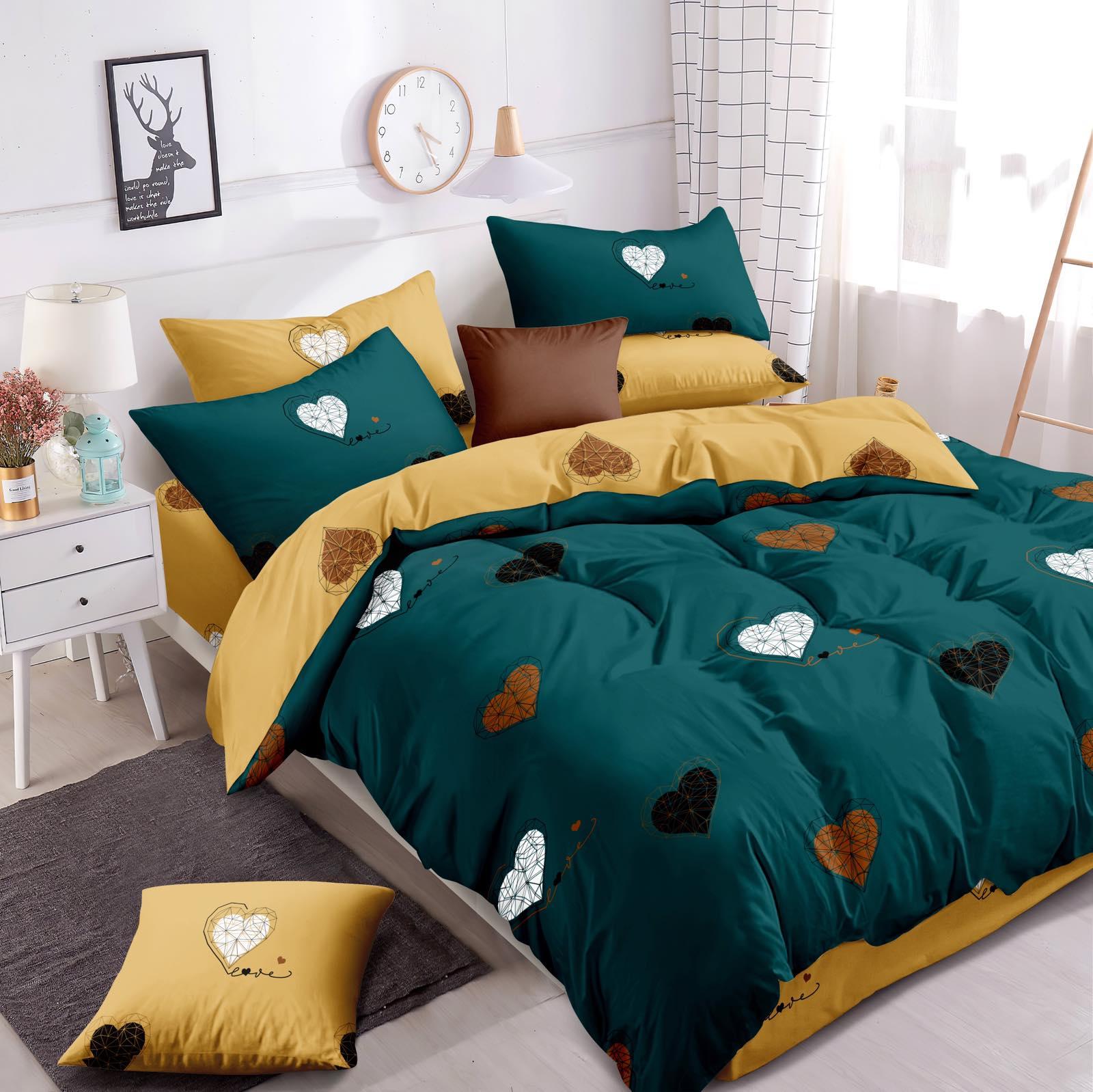 Luxusní Bavlněné povlečení na 2 postele 140x200/ 70x90 -  LOVE ZELENÉ  + prostěradlo ZDARMA