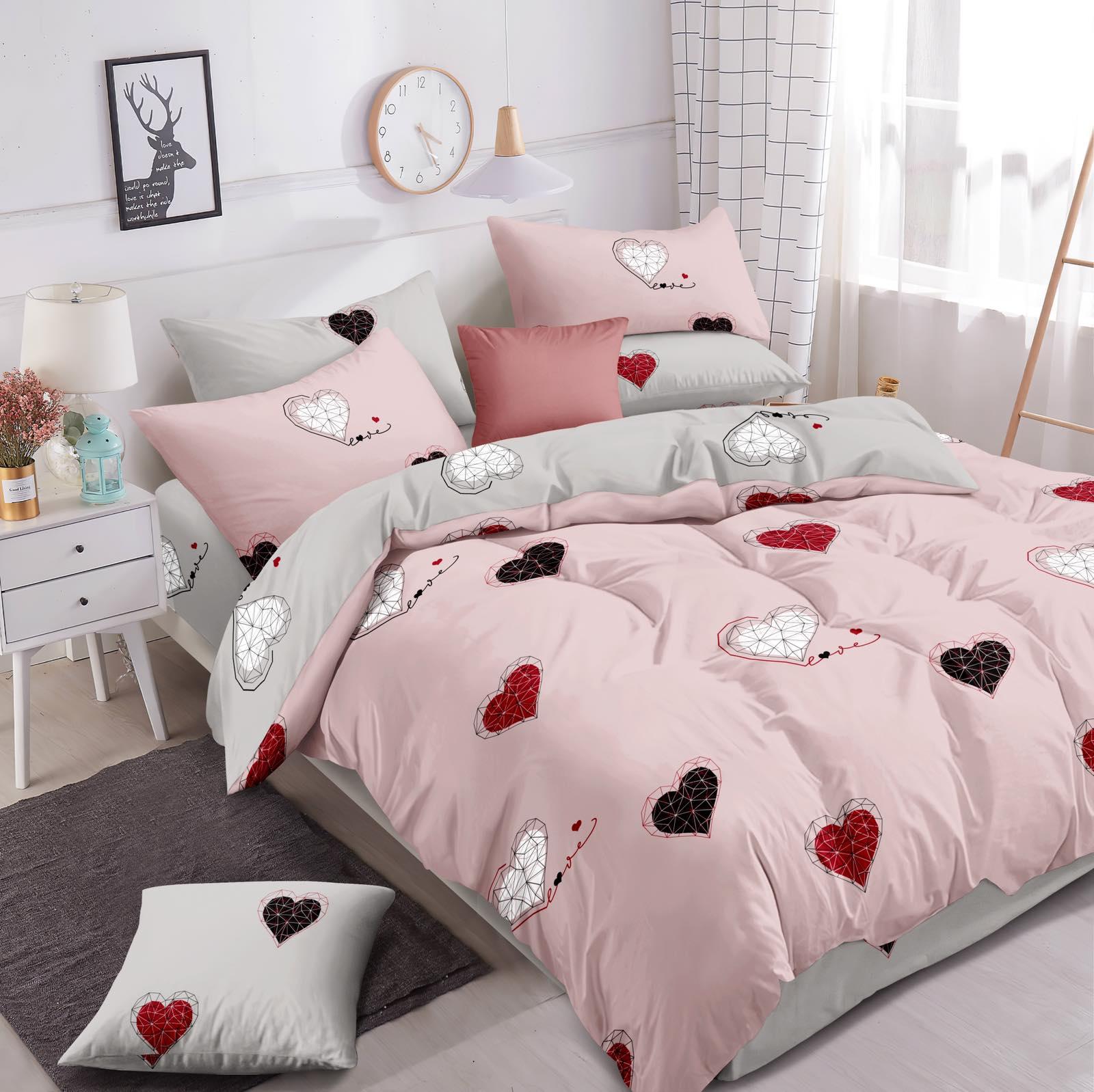 Luxusní Bavlněné povlečení na 2 postele 140x200/ 70x90 -  LOVE RŮŽOVÉ + prostěradlo ZDARMA