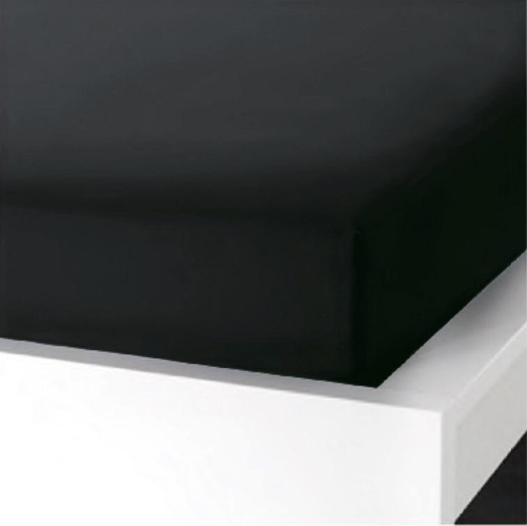 Napínací  prostěradlo na jednolůžko - 90x200 cm - ČERNÉ