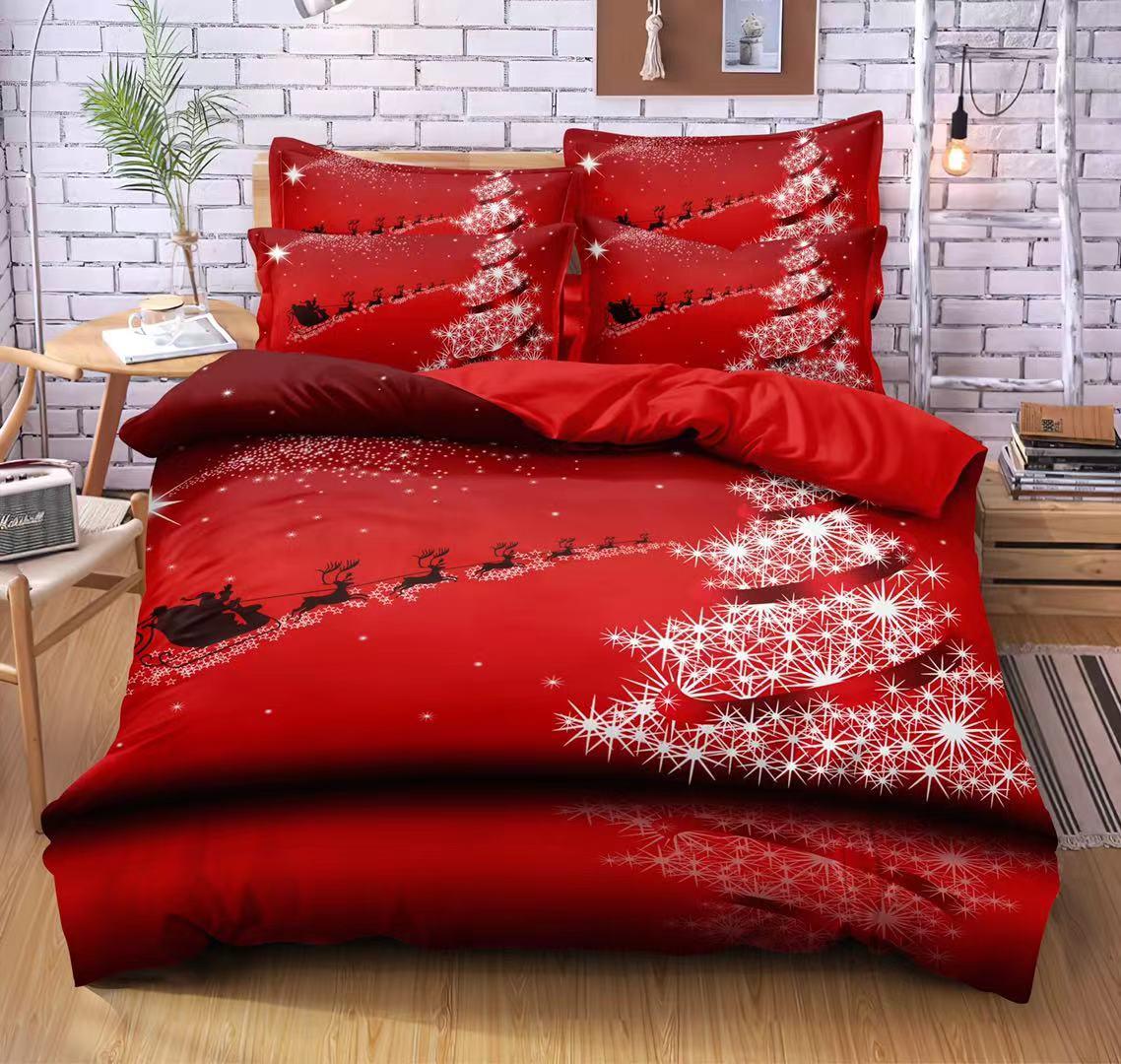 Bavlněná  sada vánočního povlečení 3D na 2 postele VÁNOCE č.1 + PROSTĚRADLO ZDARMA