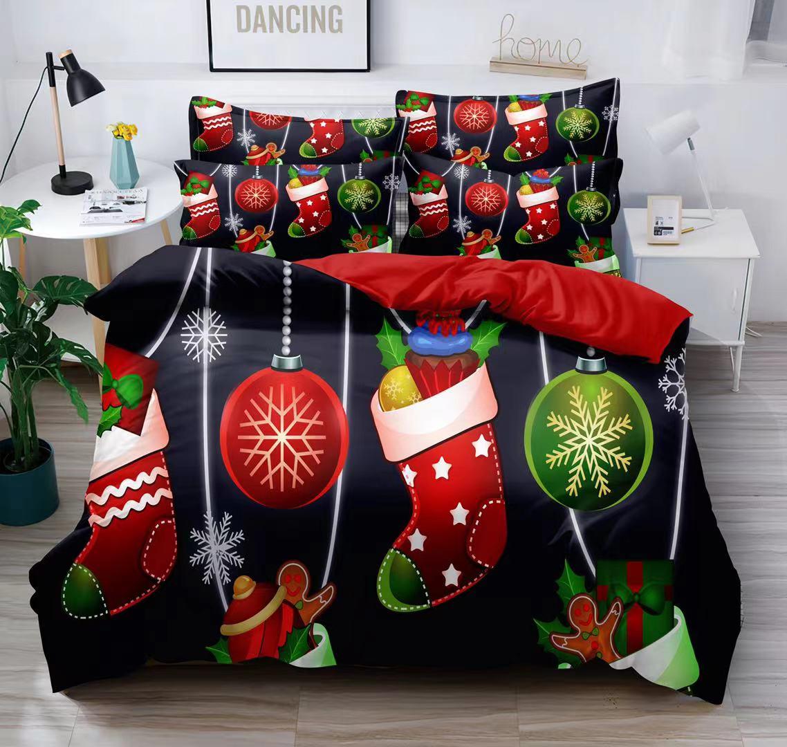 Bavlněná  sada vánočního povlečení 3D na 2 postele VÁNOCE č.2 + PROSTĚRADLO ZDARMA