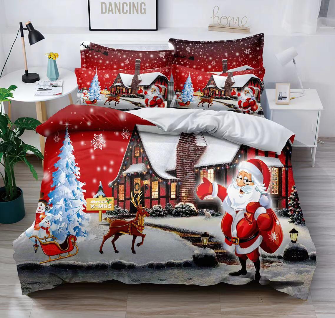 Bavlněná  sada vánočního povlečení 3D na 2 postele VÁNOCE č.3 + PROSTĚRADLO ZDARMA