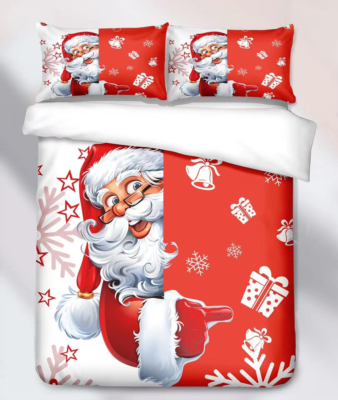 Bavlněná  sada vánočního povlečení 3D na 2 postele VÁNOCE č.5 + PROSTĚRADLO ZDARMA