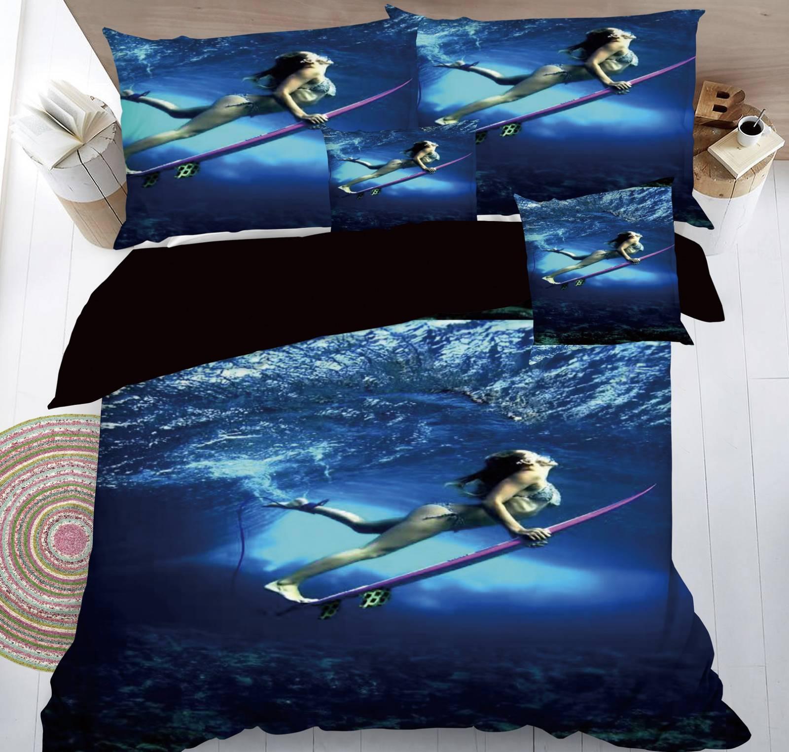 SADA POVLEČENÍ S 3D EFEKTEM SURFAŘKA  na 2 postele + PROSTĚRADLO ZDARMA